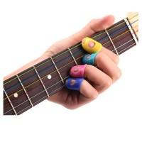 4 Pcs Guitar Fingertip Protectors Silicone Finger Guards Random Color