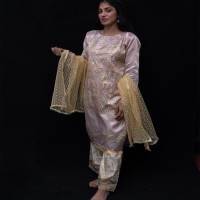 3 Pcs suit. Pure Organza Fabric with Beautiful embellishment