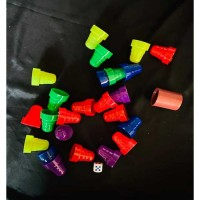 Box Of Ludo Tokens With Two Dice-Multi Color (small)