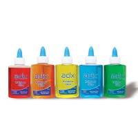 Adx Rainbow Glue Best For Slime 100ML Specially for kids For Decoration Art Work School Project Color: Red, Blue, Yellow, Orange, Green.