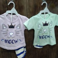 Cat Meow Design t-Shirt with Trouser for Girl