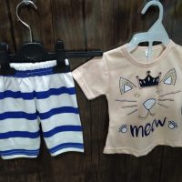 Meow Design Skin t-Shirt with lining Trouser for Girl