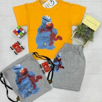 Casual Wear Fire Yellow t-Shirt with Gray Short Trouser