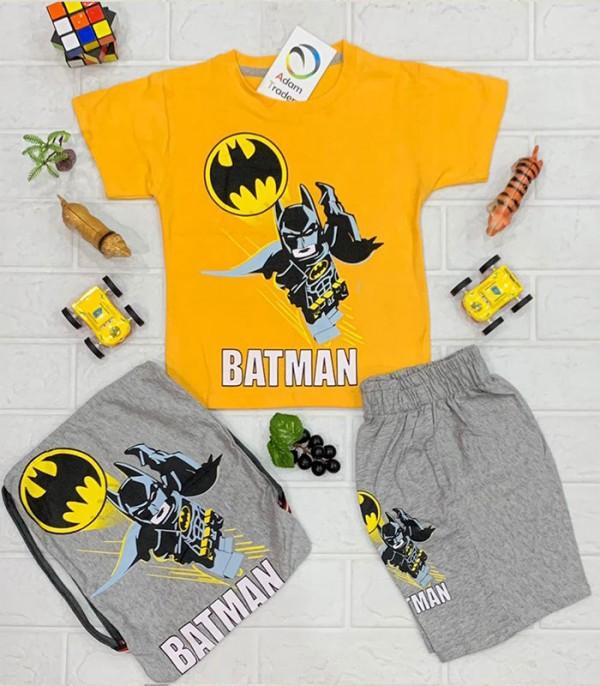 Casual Fire Yellow Batman t-Shirt with Gray Short Trouser