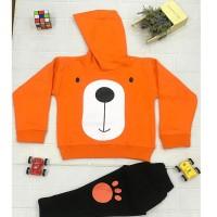 Orange Terry Bear Shirt with Black Trouser