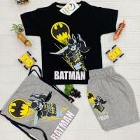 Casual Black Batman t-Shirt with Gray Short Trouser