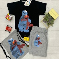 Casual Wear Black t-Shirt with Gray Short Trouser