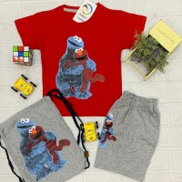 Casual Wear Red t-Shirt with Gray Short Trouser