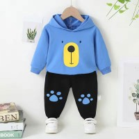 Blue Terry Bear Shirt with Black Trouser